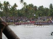Snake boats at finishing point