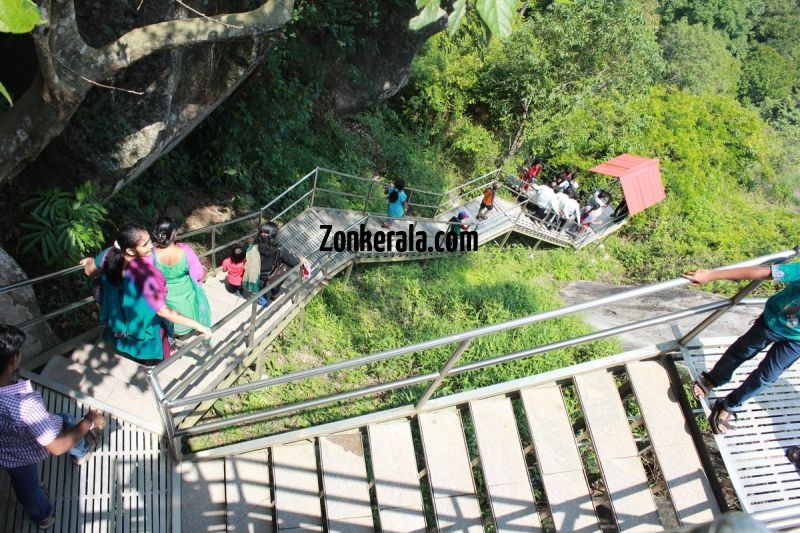 Edakkal caves stairs downwards 461