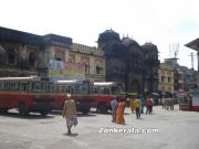 Bus stand near temple